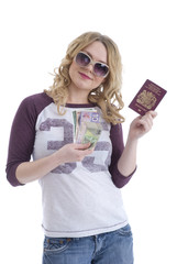 Woman with passport and money