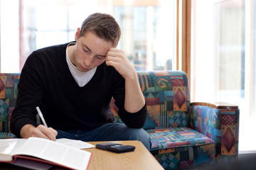 College Guy Studying Doing Homework
