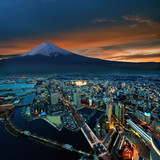 Fototapety Surreal view of Yokohama city and Mt. Fuji