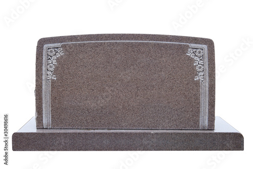 Wide, blank tombstone isolated on white - 30498616