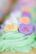 Candy Hearts in Cupcakes
