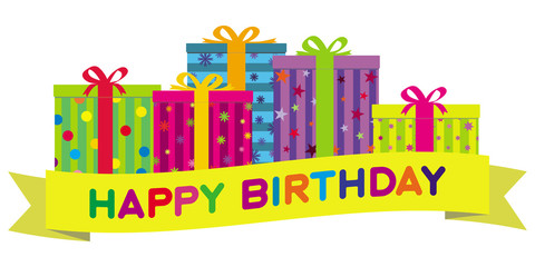 Vector Colorful Gift Boxes & Birthday Banner. No Gradients.