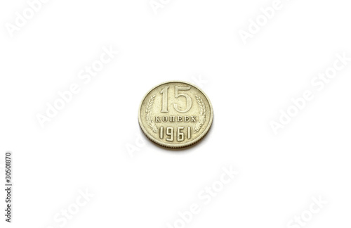 Head of 15 copecks  USSR coin issued in 1961 isolated on white