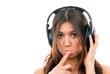 Young woman enjoying music in headphones