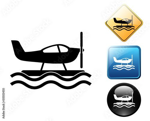 Seaplane pictogram and signs