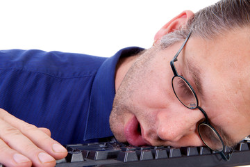 male nerdy geek fall asleep on keyboard