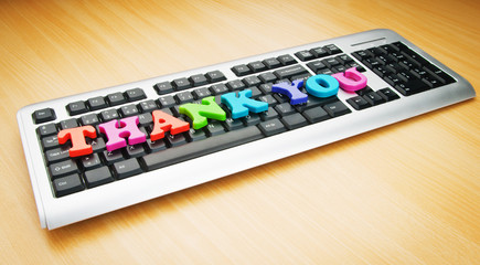 Thank you message on the keyboard