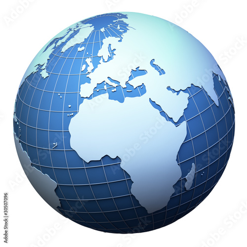 Planet earth model isolated on white - Africa and Europe