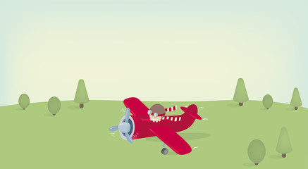 Landing plane. Vector illustration.