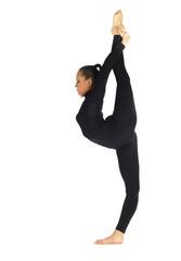 Gymnastic posing on white