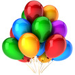 Party balloons multicolor. Shiny colorful birthday decoration
