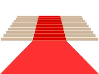 Escaliers avec tapis rouge