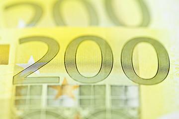 zweihundert euro gefächert makro