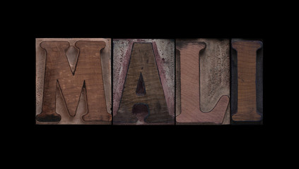 the word Mali in old letterpress wood type