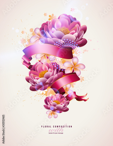 colorful floral composition with watercolor splats and banner