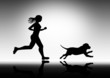 girl running with dog, vector image