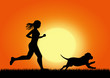 girl running with dog on sunset background, vector image