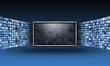 Leinwandbild Motiv Flat Screen TV Monitor with Streaming Images