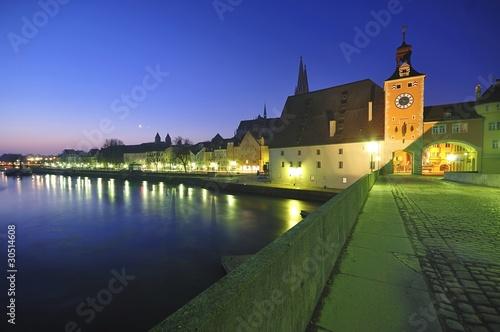 Stone Bridge and Brucktor City Gate in Regensburg