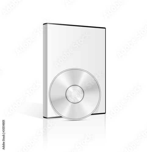 DVD case and disk on white background