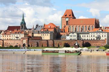 Torun - reflection in Vistula river. Poland.