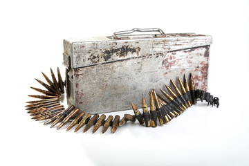 Machine-gun tape with cartridges of times  Second World War