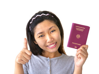 Immigrant woman with German passport