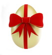 gold egg with bow on a white background