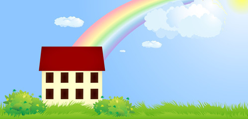 Small house on glade under rainbow