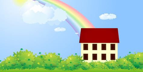 House with green hedge and rainbow