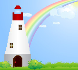 Lighthouse under the rainbow