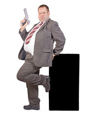 fat businessman with gun