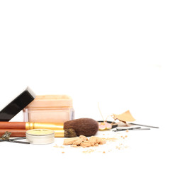 Women accessories: cosmetic, jewelry, hairpins isolated