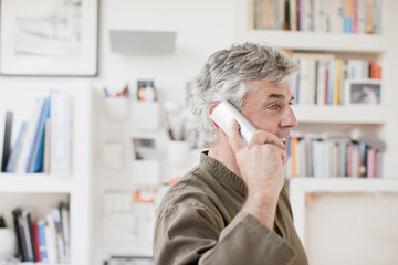 Man talking on telephone in office