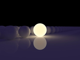 Luminescent sphere on a background ordinary spheres