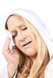 Woman with tension headache pain