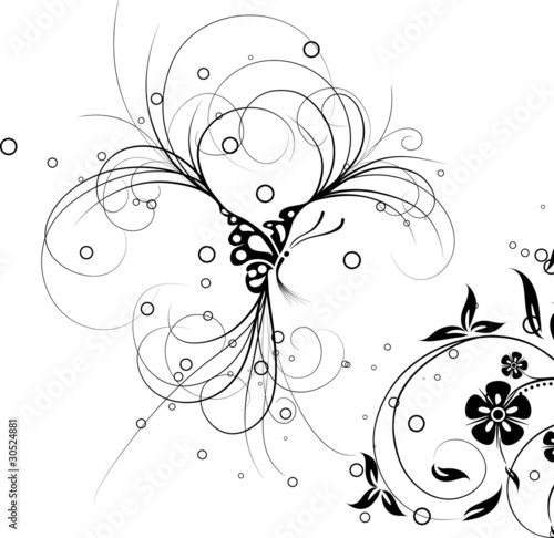 Floral butterfly, vector © Tolchik