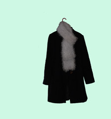 Black Coat and Fuzzy Scarf
