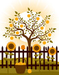 apple tree behind fence