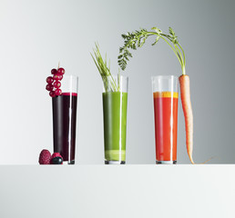 Variety of fruit and vegetable juices