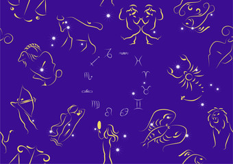 Seamless zodiac signs circle