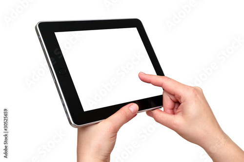 digital tablet with hands - 30525659