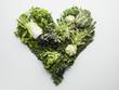 Green vegetables forming heart-shape