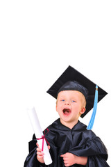 Cute little boy  with diploma