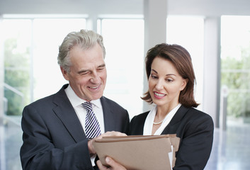 Smiling business people reviewing file in office