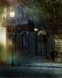 Wiktoriański dom z lampami