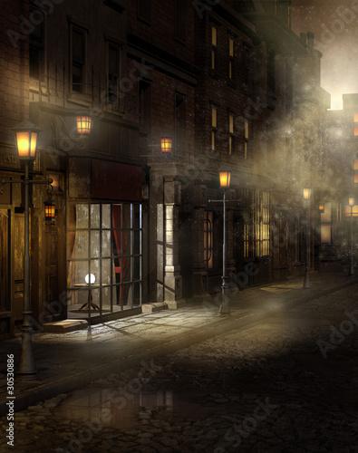 Wiktoriańska ulica nocą we mgle