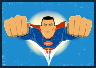 Grunge Superhero Flying in the sky