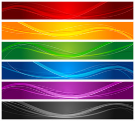 colorful wavy line banners