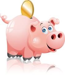 Salvadanaio Maiale Cartoon-Pig Money Box-Vector